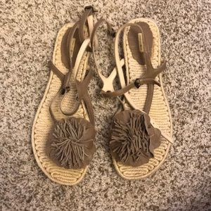 Max studio ankle leather espadrille sandals 8.5